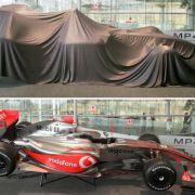 Gut verpackt und dann enthüllt: Der neue McLaren-Mercedes bei der Präsentation im englischen Woking.