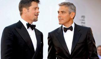Wir sind Showbiz-Freunde, wir sind keine wirklichen Freunde, sagen Brad Pitt und George Clooney. (Foto)