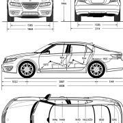 Eine Explosionszeichung der neuen schwedischenMittelklasse-Limousine.