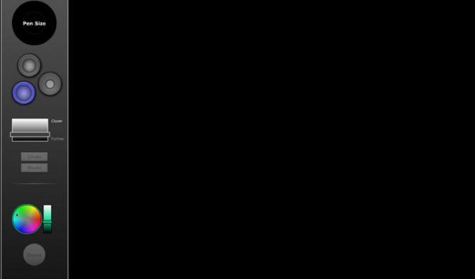 Die Ausgangssituation im Menüpunkt 3D auf flash-gear.com: Die schwarze Zeichenunterlage, links am Rand die Werkzeuge. Es gibt verschiedene Pinselarten, einen Regler für die Strichdicke, einen Regler für die räumliche Tiefe und eine Auswahl für die Farbtön