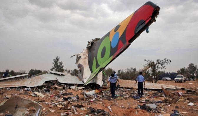 Nur noch Trümmer sind von dem Flugzeug übrig. Der aus Südafrika kommende Airbus A330 war beimLandeanflug auf Tripolis verunglückt.