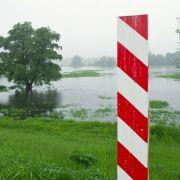 Bereits am Mittwoch war das polnische Oderufer unweit der Stadt Slubice überschwemmt.