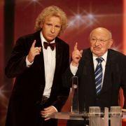 Marcel Reich-Ranicki (rechts) und Thomas Gottschalk beim Deutschen Fernsehpreis 2008.