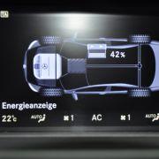 Die Leistungsverteilung der beiden Aggregate kann der interessierte Fahrer im zentralen Informationsbildschirm in der Mittelkonsole ablesen ...