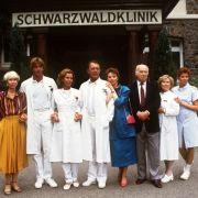 Das Schwarzwaldklinik-Team: Die Schauspieler Sascha Hehn (2.v.l.), Gaby Dohm und Klausjürgen Wussow waren die Stars der Serie.