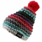 Ebenfalls dezent und trotzdem nicht ohne Wirkung: Die Mütze Nana von Burton enthält die Trendfarben Türkis, Rot und Lila in einer stimmigen Kombination. Besonderer Hingucker: Die rote Bommel.