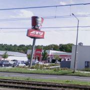 Das verpixelte Logo eines Fastfoodrestaurants inStuttgart.