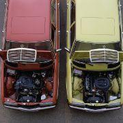 Das Basismodell 200 hatte einen Vierzylinder-Vergasermotor mit 94 PS unter der Haube und kostete im Januar 1976 exakt 18.400 D-Mark. Hier im Bild: Mercedes W123 - 200 und 230 E (rechts).