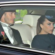 David und Victoria Beckham auf dem Weg zur Westminster Abbey.