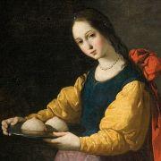 ... Als der Heilige Petrus ihr erschien und die Wunden pflegte, wurde Quintianus auch noch eifersüchtig. Er legte Agatha auf glühende Kohlen. Dort starb sie. Die Heilige wird auf Gemälden häufig mit einen Tablett gezeigt, auf dem ihre Brüste liegen.