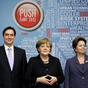 Politprominenz auf der Cebit 2012.