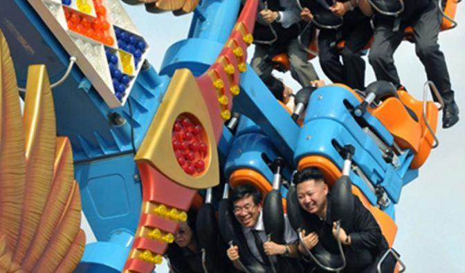Ein Spaß: Kim Jong Un in der Achterbahn.
