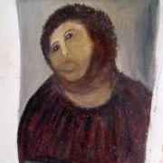 Die 80-jährige Oma Cecila Giménez besserte im spanischen Borja ein Jesus-Bild äußerst unfachmännisch aus und zerstörte es damit weitgehend.