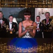 Amerikas First Lady Michelle Obama war zwar nicht bei der Oscar-Gala in Los Angeles, wurde aber per Video dazugeschaltet.