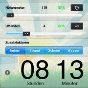 Mit der iOS App Sonnenzeit für 1,79 Euro bekommen Sie keinen Sonnenbrand mehr.
