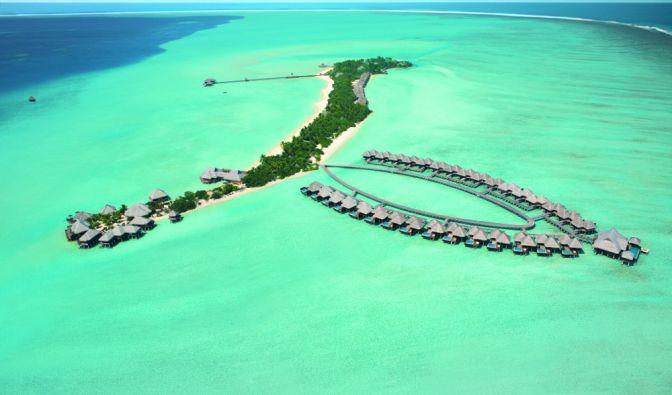 Eine Hotelanlage zum Träumen: Das Taj Exotica Resort & Spa inmitten einer der größten Lagunen der Malediven sucht Seinesgleichen. (Foto)