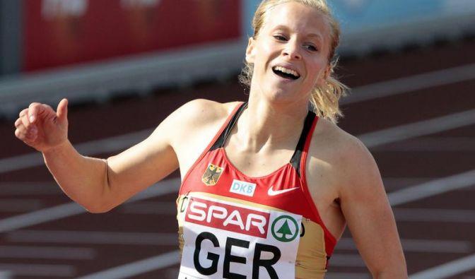 Die deutsche Sprinterin Verena Sailer holte bei der EM 2010 Gold im 100-Meter-Lauf. Beim 100-Meter-Halbfinale bei der WM in Moskau schied sie aber aus. (Foto)