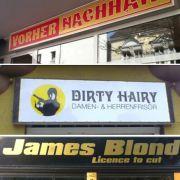 Fassungslos und doch fasziniert betrachten wir so manchen Friseur-Salon-Namen.