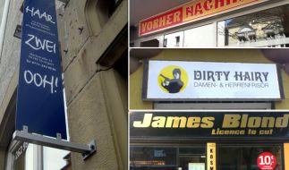 Fassungslos und doch fasziniert betrachten wir so manchen Friseur-Salon-Namen. (Foto)