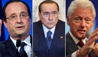 Francois Hollande, Silvio Berlusconi oder Bill Clinton: Sie alle haben mit ihrem Liebesleben Schlagzeilen gemacht. (Foto)