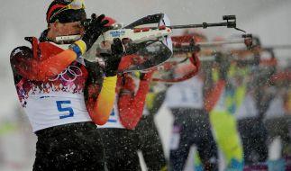 Auch Biathlon steht heute auf dem Olympia-Programm: 15:30 Uhr Biathlon, Mixed-Staffel (Medaillen-Entscheidung). (Foto)