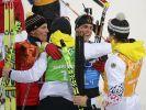 Freudiger Abschluss bei den deutschen Biathleten: Die Herren gewannen Silber hinter Russland. (Foto)