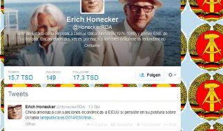Unermüdlich twittert Erich Honecker aus Ostberlin. (Foto)