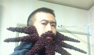 Bohnen sind nicht nur zum Essen da: Der japanische Künstler Takao Sakai bastelt aus den Hülsenfrüchten kuriose Bärte. (Foto)