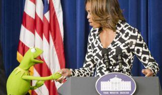 Kermit stattete Michelle Obama einen Besuch ab. (Foto)
