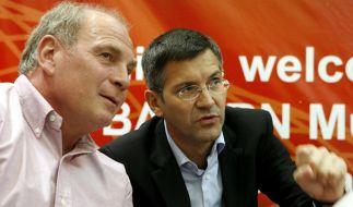 Der zurückgetretene Aufsichtsratschef des FC Bayern Uli Hoeneß (l.) mit dem Adidas-Chef Herbert Hainer. Er übernimmt nun den Aufsichtsratsvorsitz. (Foto)