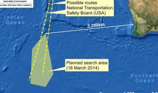 In diesem schraffierten Gebiet, etwa 2500 Kilometer von Perth entfernt, wurden Wrackteile gesichtet. (Foto)