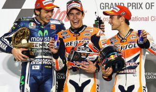 Das Podium bei MotoGP-Auftaktrennen in Katar (von links): Valentino Rossi, Marc Marquez und Dani Pedrosa. (Foto)
