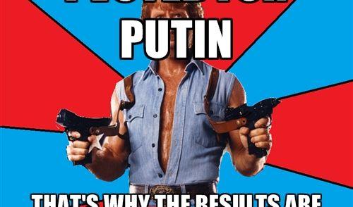 Chuck Norris ist unbesiegbar, allwissend und allmächtig. Auf einem Chuck-Norris-Meme ist seine Stimme der Grund für über 140 Prozent für Wladimir Putin.