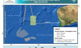Im lila markierten Gebiet wurde bis zum 27. März gesucht, nun gilt das grün schraffierte als Absturzgebiet von MH370. (Foto)