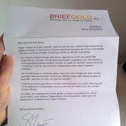 Briefgold-Schreiben sorgt im Internet für Lacher (Foto)