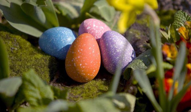 So kennt man Ostern in Deutschland. Schöne bunte Ostereier werden versteckt und dienen zur niedlichen Osterdekoration.