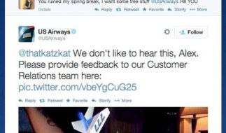 Dieses Schmuddel-Foto twitterte US Airways. (Foto)
