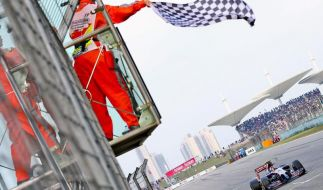 Ein Streckenposten schwenkt die Zielflagge - zu früh, wie sich bald herausstellte. (Foto)