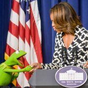 Kermit traf die First Lady, Michelle Obama. Für Miss Piggy war dies kein Grund, eifersüchtig zu werden.