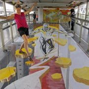 Optische Täuschung:Straßenmalerei in 3D (Foto)