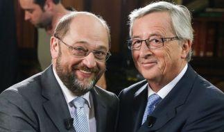 Die Kandidaten: Martin Schulz (SPD, links) und Jean-Claude Juncker. (Foto)
