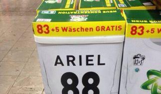 Das Waschmittel «Ariel» zog mit einer Sonderedition zur Fußball-Weltmeisterschaft mit einer riesigen «88» den Spott der Internetgemeinde auf sich. (Foto)