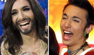 Vorher, nachher: Der österreichische Transvestit Conchita Wurst nach dem ESC-Triumph und als Tom Neuwirth (bürgerlicher Name) ohne Bart und mit kurzen Haaren. (Foto)