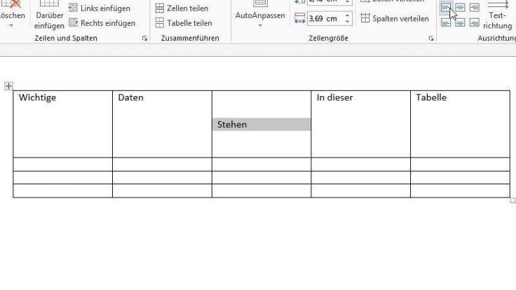 Horizontal oder vertikal: Tabelleninhalte ausrichten (Foto)