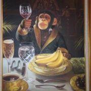 Auch dieses hübsche Affen-Gemälde wurde im betrunkenen Zustand erworben.
