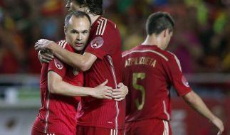 Andres Iniesta (l) ist der Dreh- und Angelpunkt der spanischen Mannschaft. (Foto)