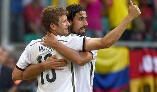 Gegen Portugal die Köpfe des Teams: Thomas Müller und Sami Khedira. (Foto)