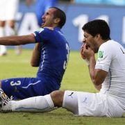Suárez wird rückfällig - Beißattacke gegen Chiellini (Foto)