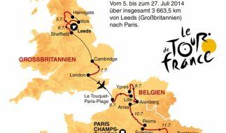 Von Leeds nach Paris: Die 21 Etappen der Tour de France im Überblick. (Foto)