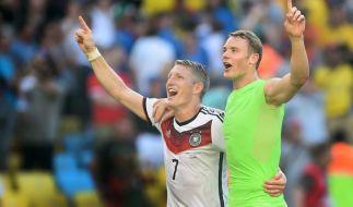 Reif fürs Finale: Bastian Schweinsteiger und Manuel Neuer. (Foto)